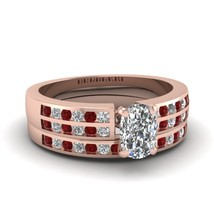 Cushion Cut CZ Sequential Elegance Wedding Ring Set W/ Red Ruby 14k Rose Gold Fn - $169.99
