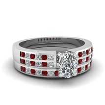 Cushion Cut CZ Sequential Elegance Wedding Ring Set W/ Ruby 14k White Gold Fn - $169.99