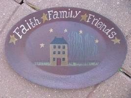 3W9652L-Faith Family Friends wood oval Plate - $8.95