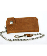 Brown Distressed Leather Wallet Buffalo Side Sn... - $39.99