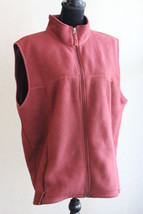 LL Bean Fleece Vest Burgundy Size Large - $17.81