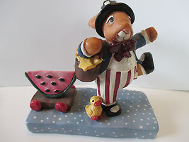 1999 KRISTEN COLLECTION HARRY PICNIC ON PARADE UNCLE SAME BUNNY FIGURINE  - $6.92