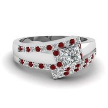 Princess Cut CZ Diagonal Crossover Wedding Ring Set W/ Ruby 14k White Gold Fn - $169.99