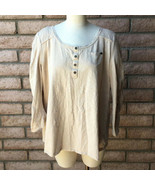Style & Co Woman 2X 3/4 Roll-Up Sleeve Henley Shirt Beige Cotton Chest P... - $27.71