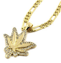 "Mens 14KGold Plated Small CZ Marijuana Leaf Pendant Hip-Hop 5mm/24"" Figa... - €11,71 EUR"
