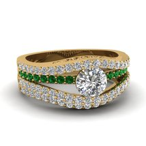 Round Cut CZ Tension Curve Wedding Ring Set W/ Green Emerald 14k Yellow Gold Fn - $169.99