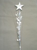 "3 Pcs Star Silver Stars Onion Grass Spray Metallic Pick Decoration 24"" Long - $7.91"