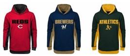 Boy's MLB Hoodie Geo Strike Hooded Pullover Sweatshirt Reds A's Brewers NEW