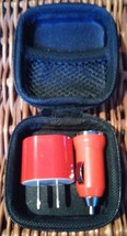 Wells Fargo Bank USB Charger Car & Wall Red Hard Shell Zip around Case A... - $20.95
