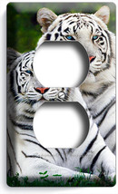 Wild Animals White Bengal Tigers Duplex Outlet Cover Wall Plate Room Home Decor - $8.99