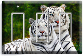 Wild Cute White Bengal Tigers Triple Gfi Light Switch Wall Plate Room Home Decor - $19.99
