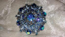 Vintage pin brooch blue crystal rhinestones many shapes flower wreath wow  - $35.00