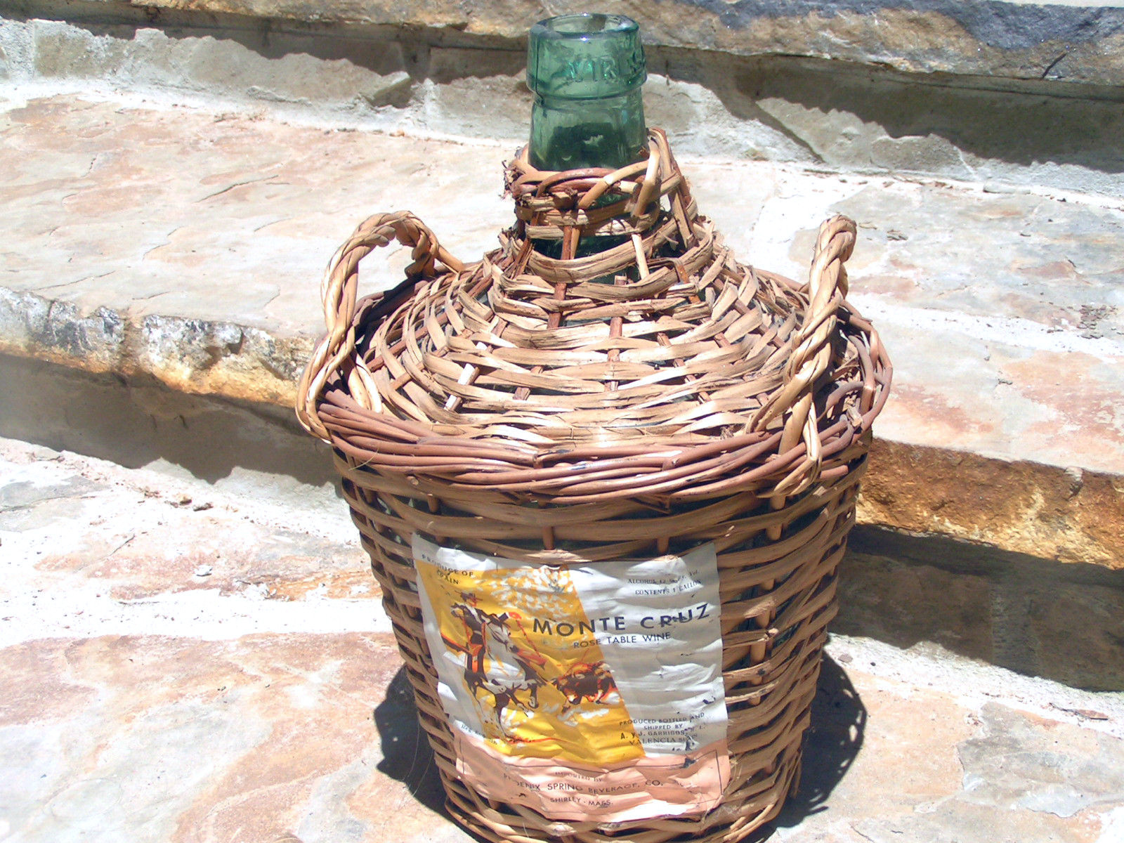 Primary image for WOVEN WICKER VINTAGE Green Glass Wine Bottle JUG SPAIN 2076 bz
