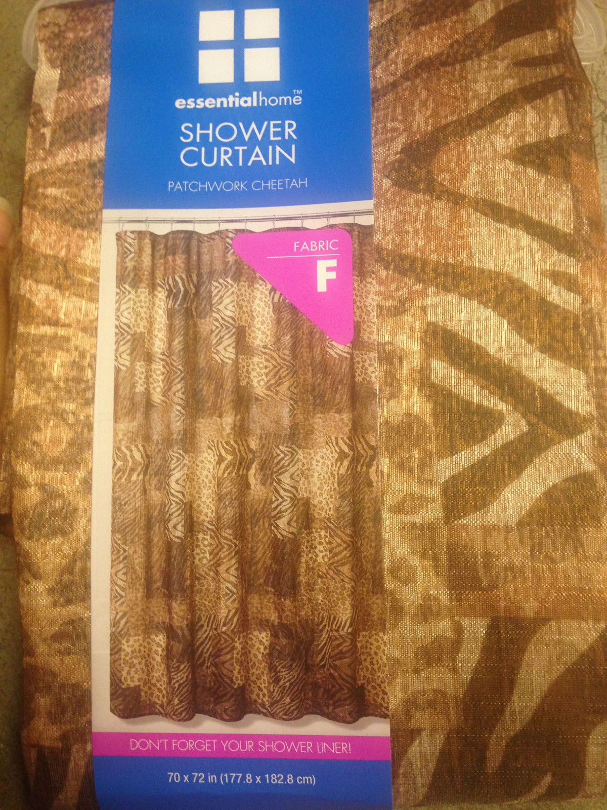NEW PATCHWORK CHEETAH ANIMAL PRINT FABRIC SHOWER CURTAIN