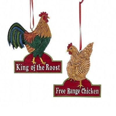 Chicken & Rooster Holiday Ornaments