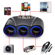 3 Way Auto Sockets Car Cigarette Lighter Adapter 5V 3.1A USB Charger 12V... - $15.99