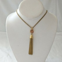 J Crew Tassel Necklace Pendant Rhinestone Antiqued Gold Tone Long Statem... - $14.99