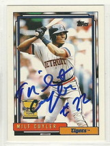 milt cuyler signed Autographed card 1992 topps - $9.50