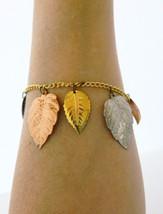 Vintage Stamped Metal Leaf Bangle Chain Link Bracelet Silver Gold Copper... - $12.19