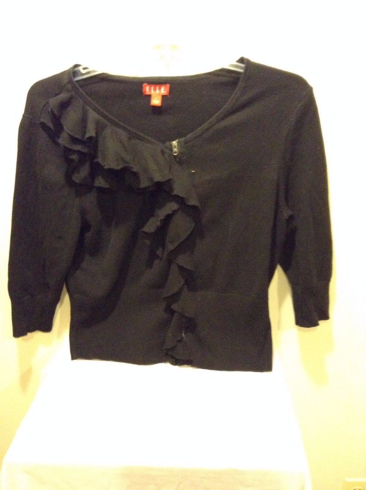 Elle Black Zip Up Blouse Sweater Large Cotton Ruffles