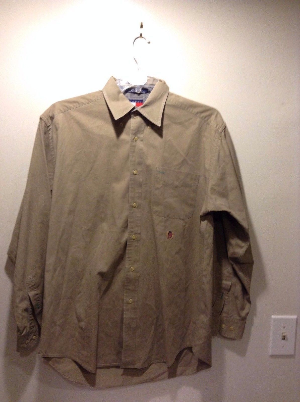 Men's Tommy Hilfiger Button Up Tan Cotton Gray Lining Size Medium