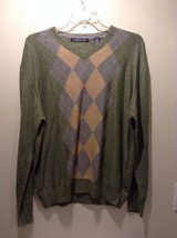 Men's Northern Isles Shirt XL Argyle Green Brown Gray Silk Rayon Cashmere