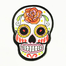 "Huge Back Patch Biker Embroidered White Skull Large Logo Iron On Patches 7"" x 8"" - $23.79"