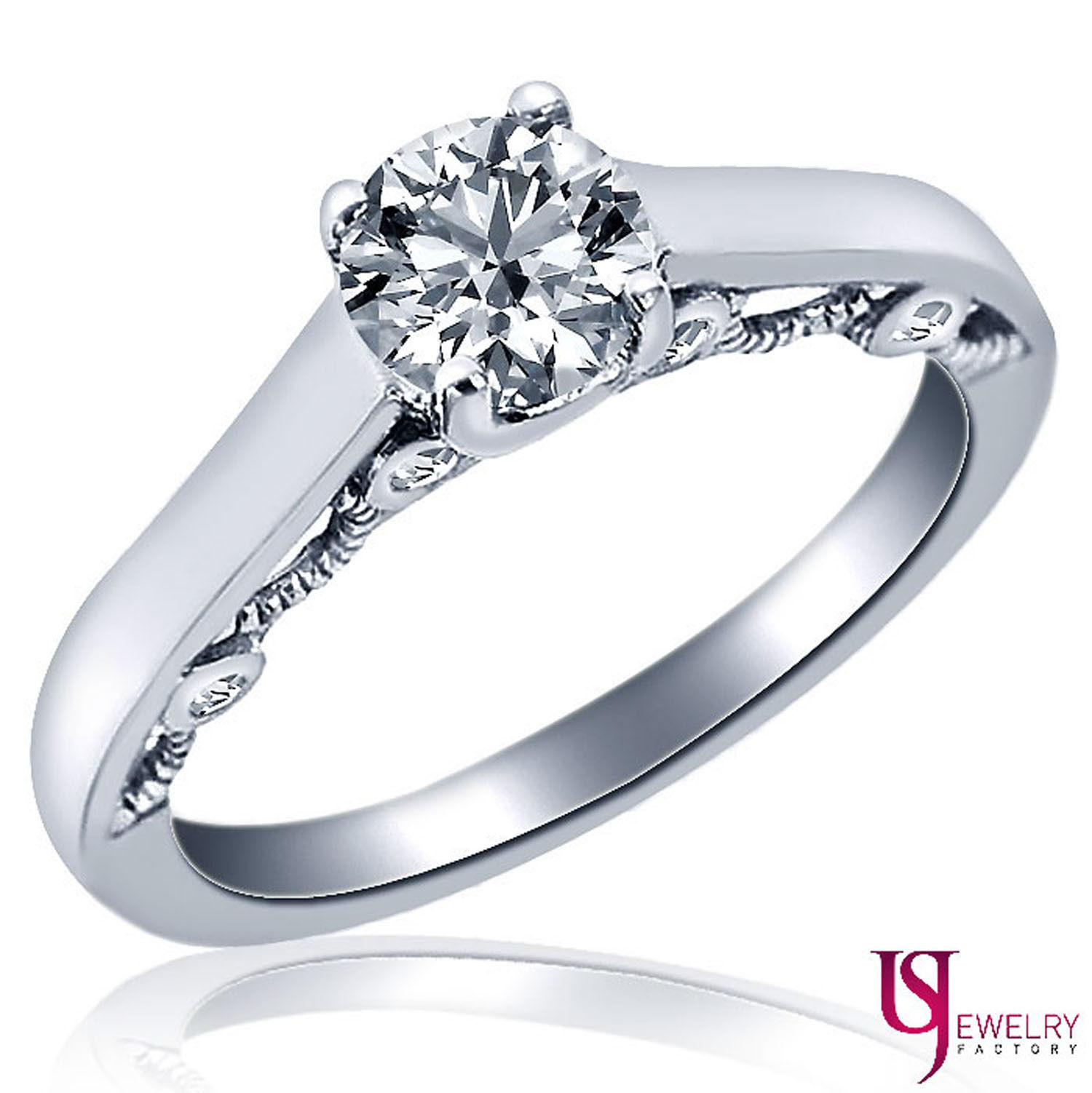 Solitaire Round Diamond Engagement Filigree Design Ring 14k White Gold 0.67ct - $1,444.41