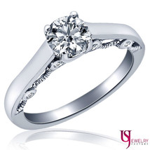 Solitaire Round Diamond Engagement Filigree Design Ring 14k White Gold 0... - €1.335,43 EUR