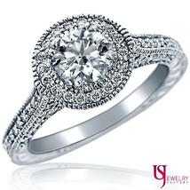 1.70ct Vintage Round Diamond Engagement Ring Milgrain Edge 14k White Gold G-VS1 - $3,612.51