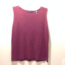 Valerie Stevens Women's Maroon Sleeveless 100% Merino Wool Shirt Soft