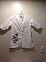 Women's White Button Up Black Writing 3/4 Sleeve V-Neck Great Condition - $39.99