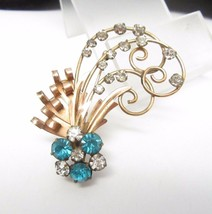 12K GOLD FILLED Aqua Blue Rhinestones Vintage PENDANT/ BROOCH Pin - 2 1/... - £55.00 GBP