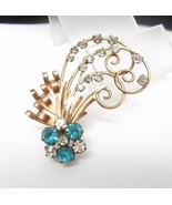 12K GOLD FILLED Aqua Blue Rhinestones Vintage PENDANT/ BROOCH Pin - 2 1/... - €60,39 EUR