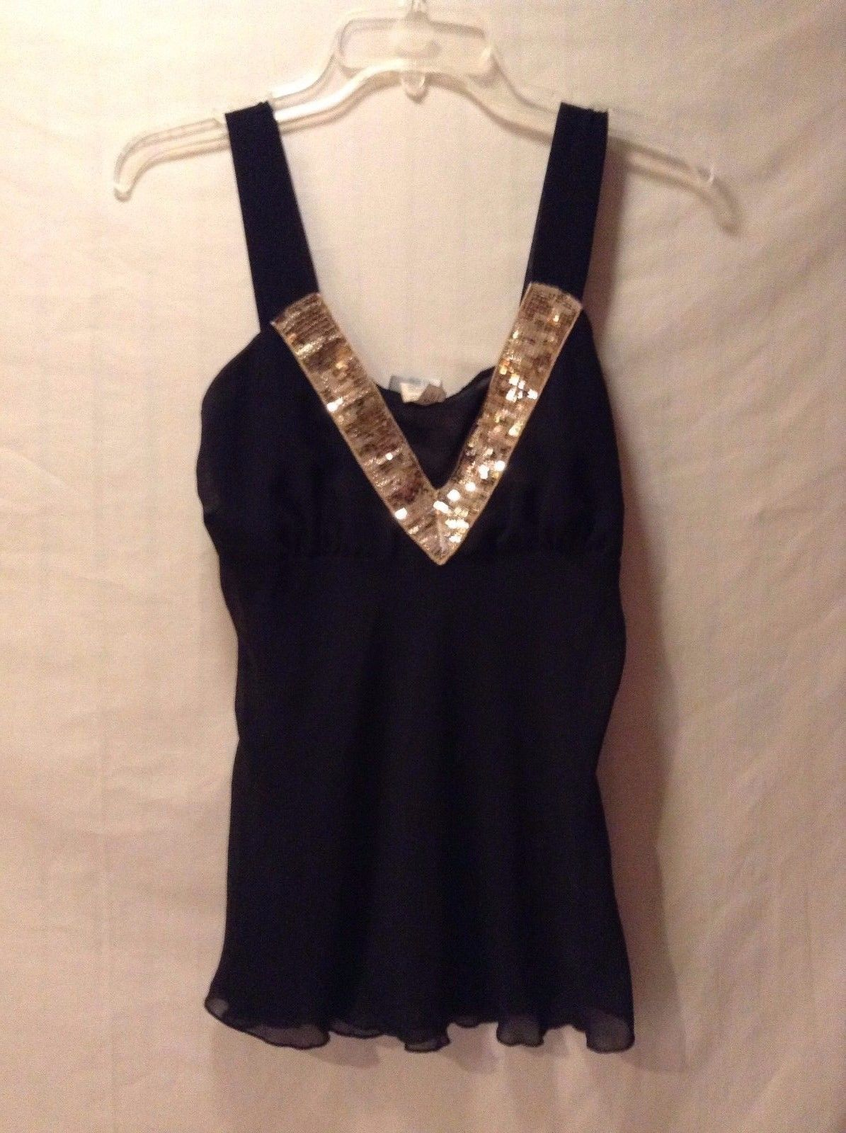 Women's Dios V-Neck Tank Top Size Medium Black with Gold Sequins