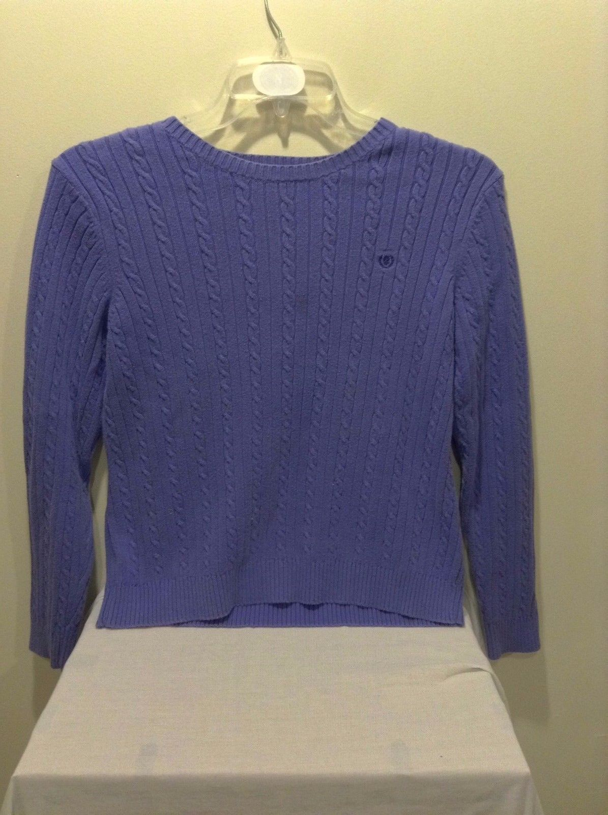 Women's Izod 100% Cotton Purple Vertical Striped Braid Pattern Long Sleeve Large