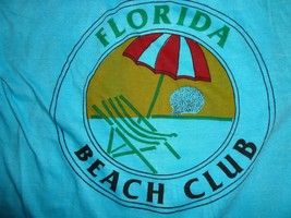 True Vintage Blue Florida Beach Club Vacation Surfing Surf t shirt Fits ... - $26.57