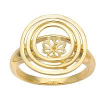 14K Yellow Gold Triple-Circles Pearl Ring Mounting - $369.00