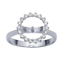 14K White Gold Semi-Mount Halo Pearl Ring Mounting - $378.00