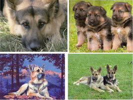 Lot Of 6 German Shepherd Dog Fabric Panel Quilt Squares - $6.99