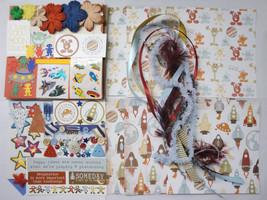 ALIENS SPACE Rockets DIY Paper Bag Album Scrapbooking Kit 100+pc - $2.99
