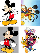 Lot Of 4 Mickey Mouse Fabric Panel Quilt Squares - $4.99