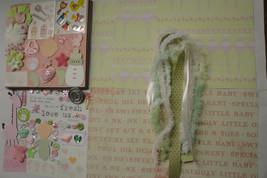 BABY GIRL DIY Paper Bag Album Scrapbooking Kit 100+pc - $2.99