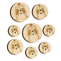 Cheers Toast Champagne Heart Love Wedding Anniversary Wood Buttons for S... - $9.99