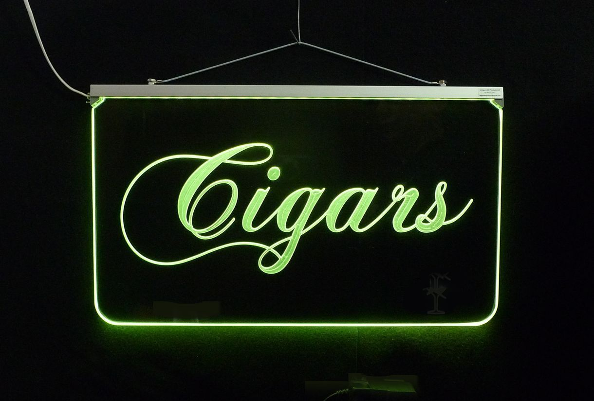 Edge Lit LED Remote Controlled Mult-color Cigars Sign *Can add logo, Handmade-