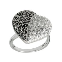 Aura 925 Sterling Silver Marcasite & White Crystal Heart Ring (MR01029W-... - £21.20 GBP