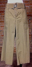 Liz Claiborne Olive Chino Cropped Pants Size 4 w/ Belt Military Look - $21.77