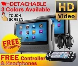 "2017 GRAY DUAL 9"" DIGITAL TOUCHSCREEN HEADREST DVD PLAYER MONITORS HEADP... - $286.11"