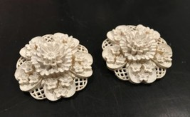 White Floral Clip on Earrings Molded Flowers Dimensional Garden Vintage ... - $49.50