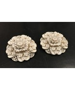 White Floral Clip on Earrings Molded Flowers Dimensional Garden Vintage Jewelry - $49.50